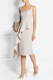 Cushnie et Ochs Asymmetric draped wool-crepe dress