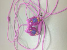 Pink owl headphones