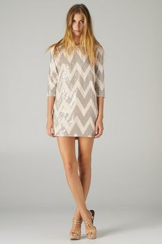 chevron sequined shift dress.