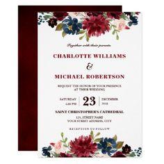 #Watercolor Burgundy Red Navy Floral Rustic Boho Card - #weddinginvitations #wedding #invitations #party #card #cards #invitation #winter