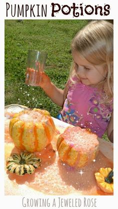 Magical Pumpkin Potions- a FUN activity for Fall with a bit of Science snuck in. My little one had a BLAST playing pumpkin potion master as she mixed her own MAGICAL concoctions