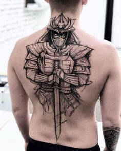 Erstaunliche stilisierte Samurai-Figur - Tattoos - old school frases hombres hombres brazo ideas impresionantes japoneses pequeños tattoo Back Tattoos For Guys, Full Back Tattoos, Back Tattoo Men, Geisha Tattoos, Leg Sleeve Tattoo, Leg Tattoos, Tattos, Skull Sleeve Tattoos, Finger Tattoos