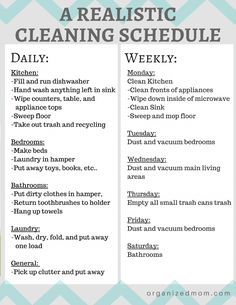 A realistic cleaning schedule moms can actually stick with. Organizing Tips. Cleaning Tips and tricks. House Cleaning Checklist, Clean House Schedule, Household Cleaning Tips, Diy Cleaning Products, Cleaning Solutions, Cleaning Hacks, Apartment Cleaning Schedule, Chore Schedule, Monthly Cleaning Schedule