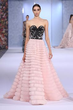 Black duchess satin and pale pink ball gown, hand-appliquéd with a dégradé of silk organza scallops and intricately embroidered with silk thread-work, sequins and glass beads.