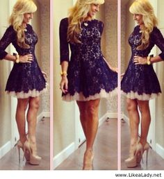 Vestidos De Renda 2016 High Neck Navy Blue Lace Tulle Cocktail Dress Short Prom Party Gowns With Sleeves Lace Homecoming Dresses, Ball Dresses, Ball Gowns, Formal Dresses, Prom Gowns, Dresses 2016, Graduation Dresses, Short Dresses, Cheap Dresses