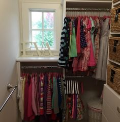 Pink hangers are a nice added touch to a girl's closet! #organize
