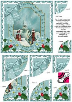 Rooftops Christmas 6in Duo Corner Stacker Card Front on Craftsuprint - Add To Basket!