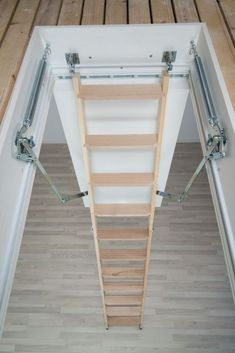 Dolle ClickFix 76 Timber Folding Loft Ladder x House Lift, House Roof, Diy Garage Storage, Attic Storage, Small Space Stairs, Small Spaces, Local Builders, Attic Stairs, Bedroom Loft