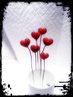 6 Tiny red hearts wired handmade lampwork glass by danacreates, $12.95