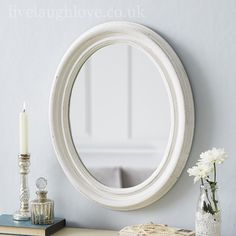 Small Oval Shabby Chic Mirror-Antique White