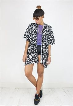 Handcrafted Kimono in Black and White 90s Print