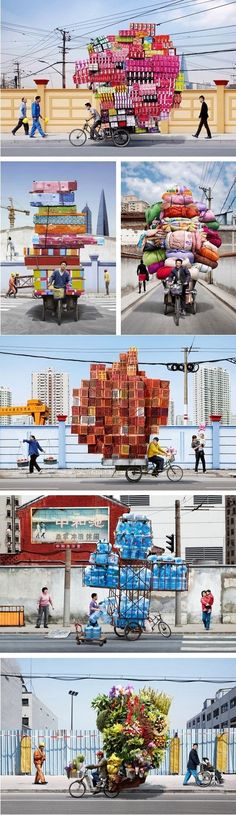 Incredible bike delivery system in Shanghi