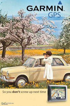 Garmin GPS (fake) #vintage ad. #advertisement #retro