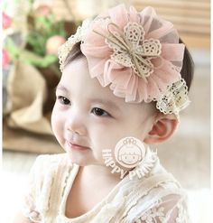 Clode for 1-3 Year Baby Gril Flower Headband Elastic Nylon Bow Cute Suitable Hair Bands Photography Prop Set of 3