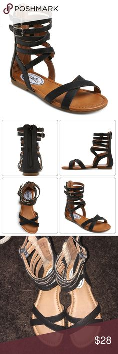 NWT Gladiator Girl Strappy Sandals New Girls' Gladiator Sandals. The cushioned insole and adjustable buckle straps keep her comfy and secure all day, while the taller height and crisscross straps add a boho touch. A fill length zipper at the heel make them easy to get on and off. Sizing: Kids Upper Material: 96% , Plastic, Polyurethane % 4  Outsole Material: 100% Thermoplastic rubber Lining Is Polyester, Polyurethane Closure Style: Buckle, Full length back zipper Strap Style: Ankle strap…