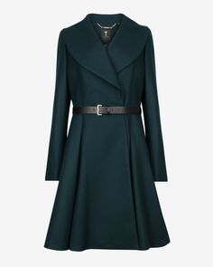 Flared skirt wool coat - Dark Green | Jackets & Coats | Ted Baker UK