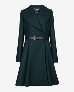 Flared skirt wool coat - Dark Green   Jackets & Coats   Ted Baker UK