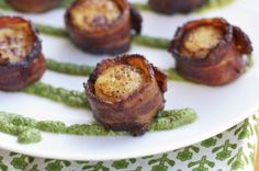 Steakhouse Bacon Wrapped Sea Scallops with Pecan Pesto recipe: Tantalize taste buds with this easy-to-make surf and turf appetizer prepared with Farmer John's new, peppery Steakhouse Bacon, butter seared sea scallops, and homemade pecan pesto for dipping! Pecan Recipes, Crockpot Recipes, Soup Recipes, Healthy Recipes, Recipes Dinner, Potato Recipes, Breakfast Recipes, Dessert Recipes, Fish Recipes