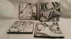 Check out this item in my Etsy shop https://www.etsy.com/listing/273783358/set-of-four-clock-coasters