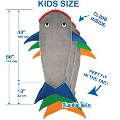 Kids Shark Blanket by Blankie Tails® - Assorted Colors - Blankie Tails - 6 for boy Sewing Projects For Kids, Sewing For Kids, Sewing Crafts, Sewing Ideas, Shark Tail Blanket, Manta Polar, Easy Baby Blanket, Fabric Purses, Birthday Gifts For Kids