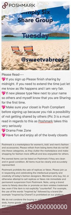 🌴OPEN TUESDAY SIGN UP🌴 🎉Welcome to my Simply Six Share Group 🎉Tag your name (ex @obxy4u)  🎉Share 6 Available listings from each closet.  🎉DON'T share SOLD ITEMS 🎉DON'T SHARE SALE SIGNS UNLESS IT'S AT A POSHER REQUEST 🎉To mark your spot  place *** before last poshers name (ex ***obx) 🎉If new to my Group, type (New) by your name.  🎉Sharing begins  at 6 AM your time 🎉Shares must be completed Midnight Your time 🎉Sign up closes at 4 PM 🎉You may Sign out after I close  🎉Use the Q&A…