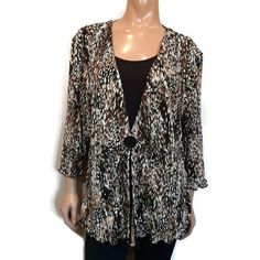 Vintage Alia Mock Twinset Top Womens Size XL Brown Black Print Accordion Pleated #Alia #Basic #Casual Black Print, Online Price, Tunic, Blouses, Best Deals, Brown, Casual, Shirts, Ebay