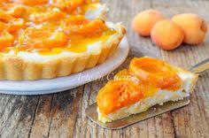 Crostata di albicocche e ricotta, dolce facile e veloce ottimo a merenda o colazione, dolce estivo con frutta fresca di stagione, anche per bambini, dolce al forno