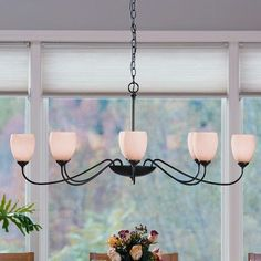 Hubbardton Forge 8 Light Shaded Chandelier Finish: Brushed Steel, Shade Color: Opal