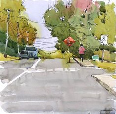 There's some roadwork going on in my neighbourhood, diverting lots of traffic onto my street. I took my sketchbook out this morning to see wherethe action was. It was a good opportunity to paint t...