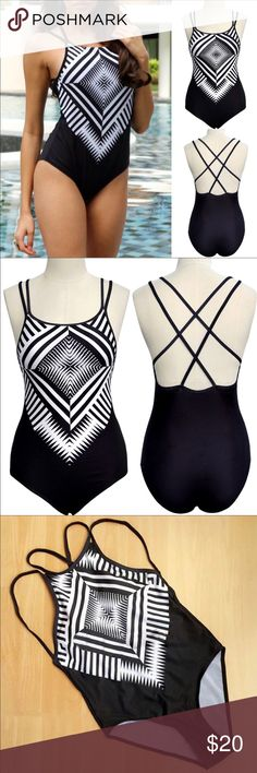 Kaleidoscope contract sexy strappy back monokini •brand new  •ships tomorrow •brand : Timeless Look   •no trades  •true to size  •material: 92%nylon 8% spandex  Padded not see through ! Awesome bodycon fit ! Swim One Pieces