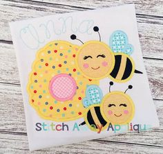 Bee Hive Spring Summer Machine Applique por StitchAwayApplique