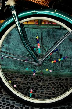 "colorful spokes - if your bike went ""click, click, click"" as you rode it, you were cool :)"