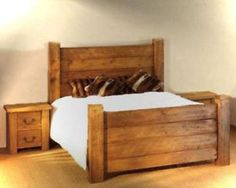 Handmade solid wood chunky panel bed frame made to measure in single double super king size redwood pine oak finish post and plank rustic