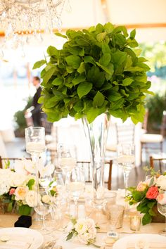 Centerpieces - Keep things simple and sophisticated with tall, leafy centerpieces. {Melissa Robotti Photography}