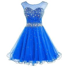 DianSheng Women's Short Tulle Beading Homecoming Dress Graduation Gown ($55) ❤ liked on Polyvore featuring dresses, gowns, graduation dresses, blue homecoming dresses, short dresses, graduation gown and blue evening gown