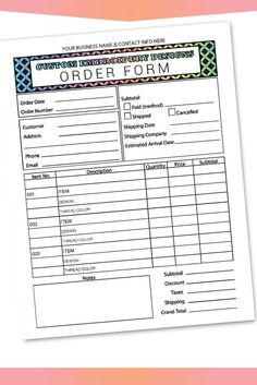 Fillable/Editable Text only PDF embroidery Order Form Invoice Blank Letter Size Forms Sales Sheet Or Craft Business, Business Names, Business Ideas, Passport Application Form, Order Form Template, Circuit Projects, Vinyl Projects, Weekly Meal Planner, Business Planner