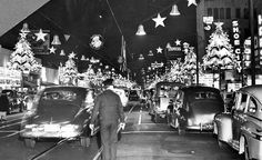 Nov. 28, 1952: A police officer watches traffic on Hollywood Boulevard after holiday lights were turned on, in this photo looking east from McCadden Place.  Los Angeles Times archives.