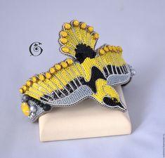 Купить Капелька солнца в холодной воде - желтый, серый, стальной, черный, бисер, вышивка, птица