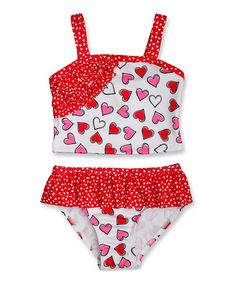 Look what I found on #zulily! Red Live Love Laugh Heart Tankini - Infant, Toddler & Girls #zulilyfinds
