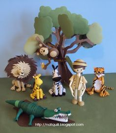 The Safari with tiger monkey lion giraffe and crocadile