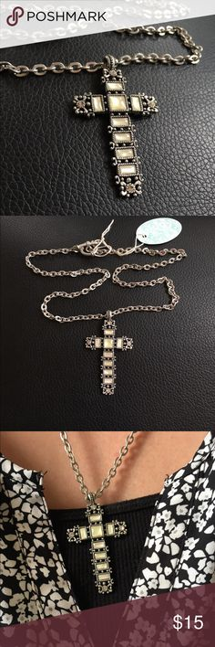 """Cross Necklace with Mother of Pearl Antique style Mother of Pearl inlaid in a silver cross. Necklace is 21"""" long and the cross is 2"""" tall. Bundle and save! Jewelry Necklaces"""