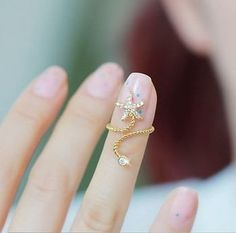 Starfish thread ring (ADJUSTABLE)Finger Armor / Nail Ring More Pins Like This At FOSTERGINGER @ Pinterest