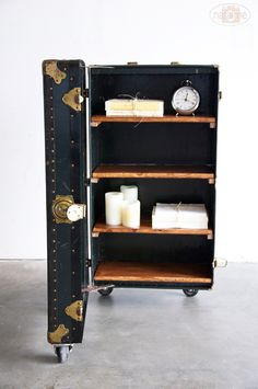 restoration hardware + vintage leather suitcase