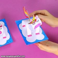 paper toy This paper unicorn craft is such a cute one - both as a craft for kids and kids at heart. Print the template and make your very own unicorn paper toy. Paper Crafts For Kids, Diy Paper, Diy Crafts For Kids, Fun Crafts, 3d Paper Crafts, Kids Diy, Preschool Crafts, Paper Crafting, Unicorn Kids