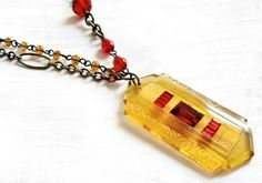 Yellow Glass Pendant Necklace Art Deco by ModernVintageStudio, $59.00