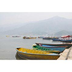 Colorful Boats on Phewa Lake, Pokhara, Nepal - Matted Print Foggy Morning, Color Card, Continents, Nepal, Boats, Water, Photography, Travel, Biology