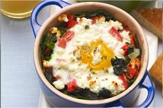 A modern take on baked eggs – replace the traditional spinach with Swiss chard, add bite with crushed green peppercorns and sprinkle with tangy goat cheese. Brunch Menu, Brunch Recipes, Breakfast Recipes, Breakfast Ideas, Dinner Recipes, Green Peppercorn, Ham And Eggs, Homemade Pickles, French Toast Casserole