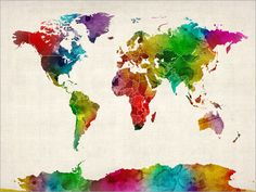 Watercolor Map of the World Map, Art Print, 24x36 inch (687). £24.99, via Etsy.