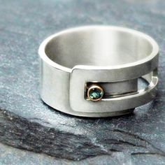 Alexandrite strap ring - Argentium sterling silver and 14k gold by Revonav