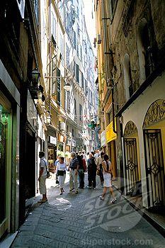 Via San Luca, in old city of Genoa Genova, Liguria, Italy